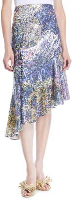 Mary Katrantzou High-Waist Printed Sequin Asymmetric Midi Skirt
