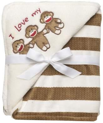 Baby Starters Sock Monkey Striped Blanket