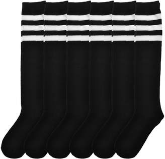 Angelina 6-Pair Black Referee Knee High Socks with White Stripes BS_BS-W_9-11