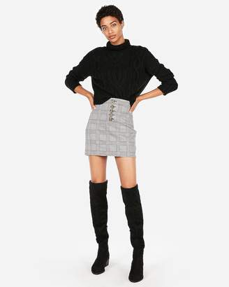 Express High Waisted Windowpane Plaid Mini Skirt