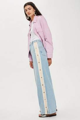 Topshop Bleach Popper Side Stripe Wide Jeans