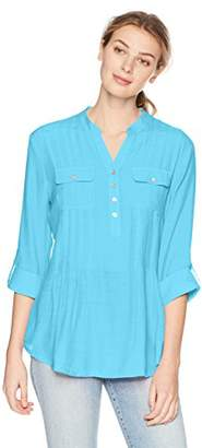 Ruby Rd. Women's Silky Gauze Pleated Top with Button-Front Stand Collar