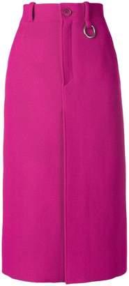 Balenciaga Front slit wool-blend skirt