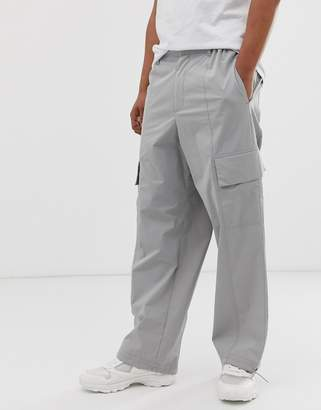 Asos Design DESIGN wide leg cargo pants in pale gray