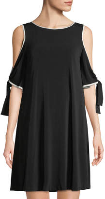 Taylor Cold-Shoulder Tie-Sleeve A-Line Dress