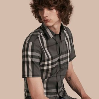 Burberry Short-sleeved Check Stretch Cotton Shirt $295 thestylecure.com