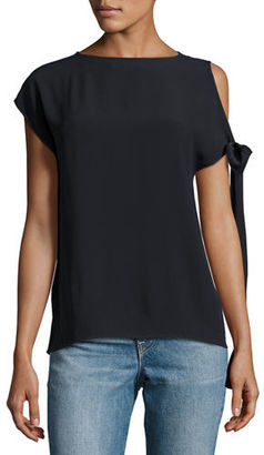 Helmut Lang Short-Sleeve Crepe Tie-Shoulder Top $295 thestylecure.com