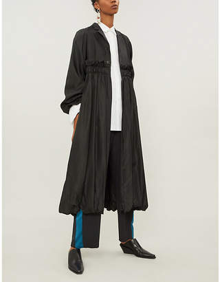 Noir Kei Ninomiya Gathered satin-twill coat