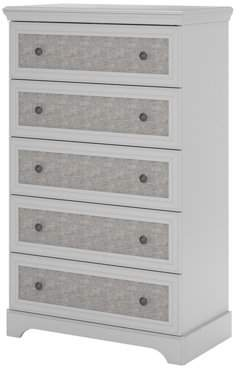 Ameriwood Home Stone River 5 Drawer Dresser with Fabric Inserts, Dove Gray