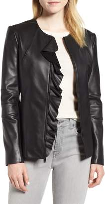 Via Spiga Center Ruffle Leather Jacket