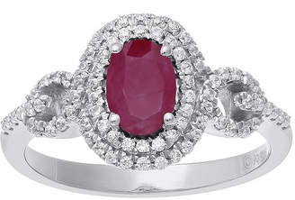 FINE JEWELRY Lead Glass-Filled Ruby and 1/3 CT. T.W. Diamond 10K White Gold Oval Halo Ring