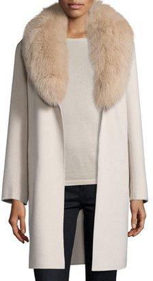 Neiman Marcus Cashmere Collection Double-Face Cashmere Coat w/ Fox Fur Collar $1,695 thestylecure.com