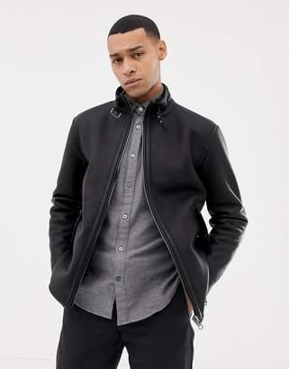 Esprit shearling lined faux leather biker jacket in black