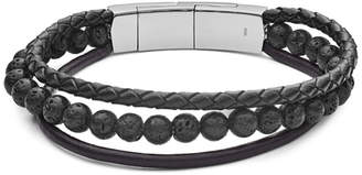 Fossil Vintage Casual Multi-Strand Leather and Bead Bracelet