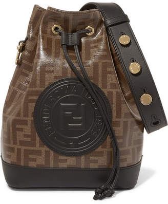 703426621817 Fendi Mon Trésor Large Leather-trimmed Printed Coated-canvas Bucket Bag -  Brown