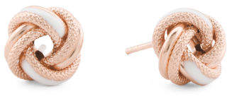Made In Italy 14k Rose Gold White Enamel Love Knot Earrings