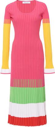 Prabal Gurung Striped Ribbed-Knit Midi Dress Size: XS