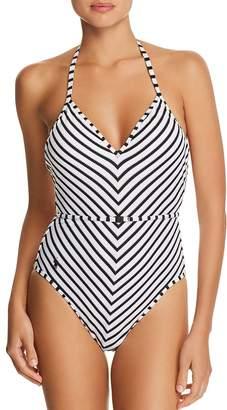 Polo Ralph Lauren Piqué Stripe Belted Halter One Piece Swimsuit