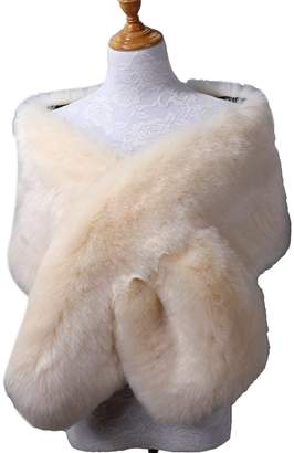 JINGDRESS Faux Fur Wrap Stole Shrug Winter Bridal Wedding Cover Up