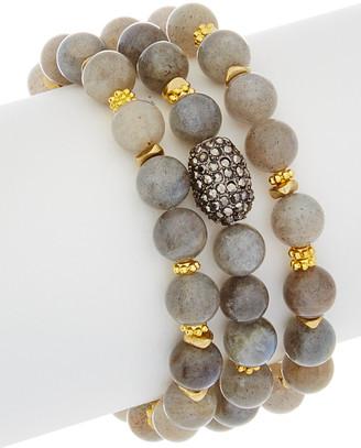 Rachel Reinhardt Labradorite & Crystal Set Of 3 Stretch Bracelets