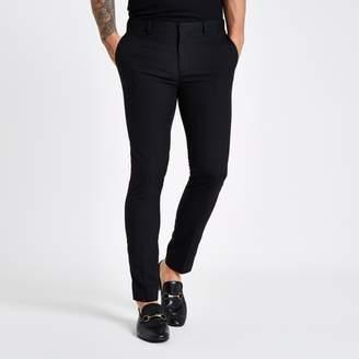 River Island Mens Black super skinny smart trousers
