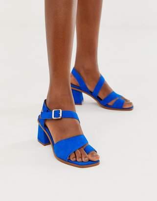Asos Design DESIGN Hickery premium suede toe loop block heeled sandals in blue