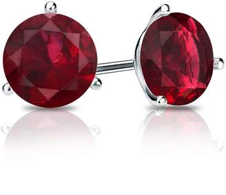 RSJ Global 14k White Gold Plated 3-Prong Martini Round Cut Ruby Stud Earrings 0.75 ct Alloy