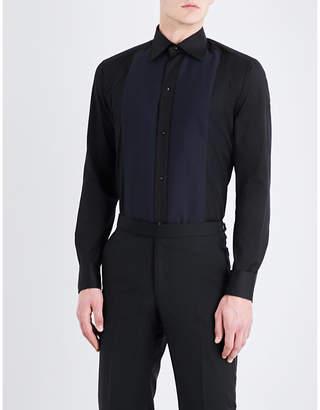 Eton Contrast-bib slim-fit cotton-poplin shirt