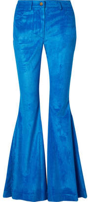 Rosie Assoulin Cotton-blend Corduroy Flared Pants - Bright blue