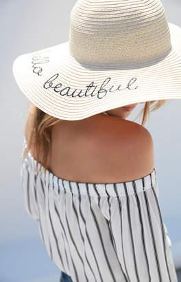 La Hearts Hello Beautiful Straw Hat