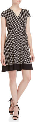 Sandra Darren Petite Printed Surplice Fit & Flare Dress