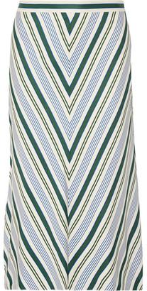 Tory Burch - Villa Striped Satin-twill Midi Skirt - Off-white $395 thestylecure.com