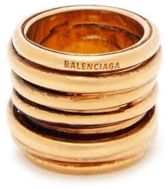 c6b01d3f2 Balenciaga Logo Engraved Stacked Ring - Womens - Gold