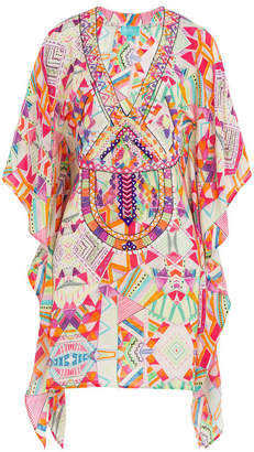 TAJ Printed Silk Tunic with Beading