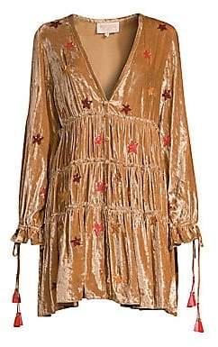 Rococo Sand Women's Velvet Sequin Star Peasant Dress