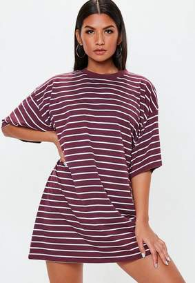 Missguided Burgundy Oversized Short Sleeve Stripe T Shirt Dress