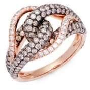 LeVian Chocolatier® 14K Vanilla Gold®,Vanilla Diamond® & Chocolate Diamond® Ring