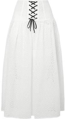 Marysia Swim Riviera Lace-up Broderie Anglaise Cotton Midi Skirt