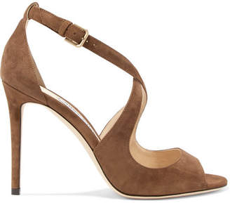 Jimmy Choo Emily 100 Suede Sandals - Light brown