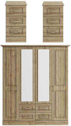 Consort Furniture Limited Dorchester 3 Piece Package - 4 Door Mirrored Wardrobe and 2 Bedside Chests