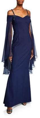 Rickie Freeman For Teri Jon Sweetheart Beaded-Strap Long-Sleeve Chiffon Capelet Illusion Dress