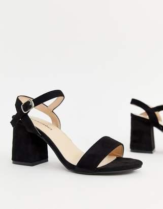 Glamorous black block heeled sandals