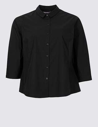 Marks and Spencer CURVE Cotton Rich 3/4 Sleeve Shirt