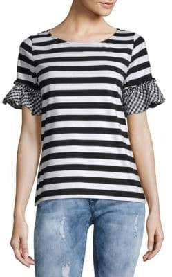 August Silk Gingham Ruffle Trim Tee