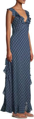 Leon Max Ruffle-Trimmed Plaid Maxi Dress