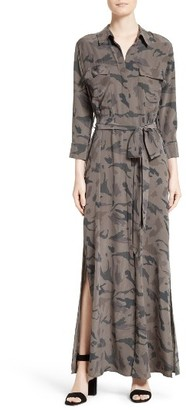Women's L'Agence Silk Maxi Shirtdress $595 thestylecure.com