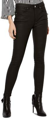 Karen Millen Mid-Rise Coated Skinny Jeans in Black