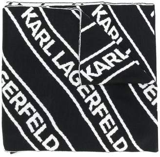 Karl Lagerfeld logo knitted scarf