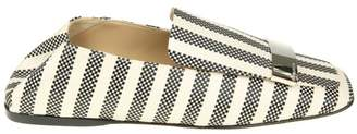 Sergio Rossi Loafers In Black And White Woven Canvas With Metal Plate