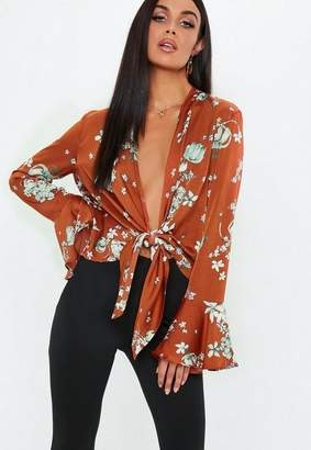 Missguided Rust Floral Knot Front Flare Sleeve Blouse